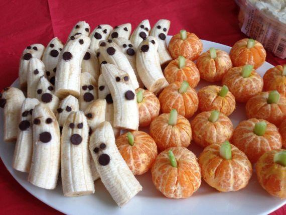 закуски бананы мандарины хэллоуин