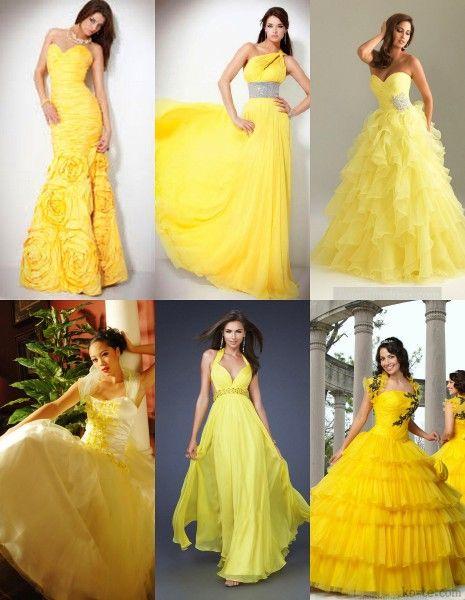 насыщенно-желтый цвет свадебного платья 2017