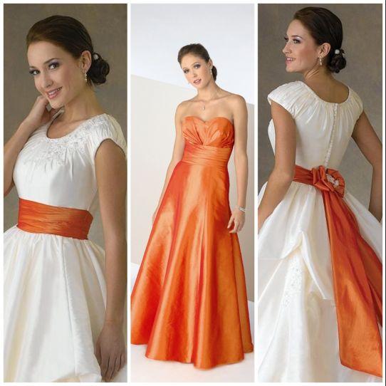 оранжевый цвет свадебного платья 2017