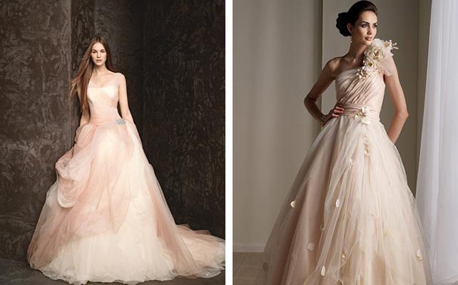 модный цвет свадебного платья персиковый цвет