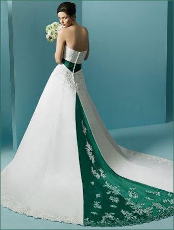 темно-зеленый цвет свадебного платья 2017